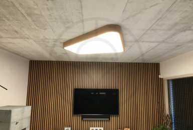 The custom made LED ceiling lamp on architectural concrete. Samsung high-efficiency LED's with TCI power supplies gives to lamp high performance.