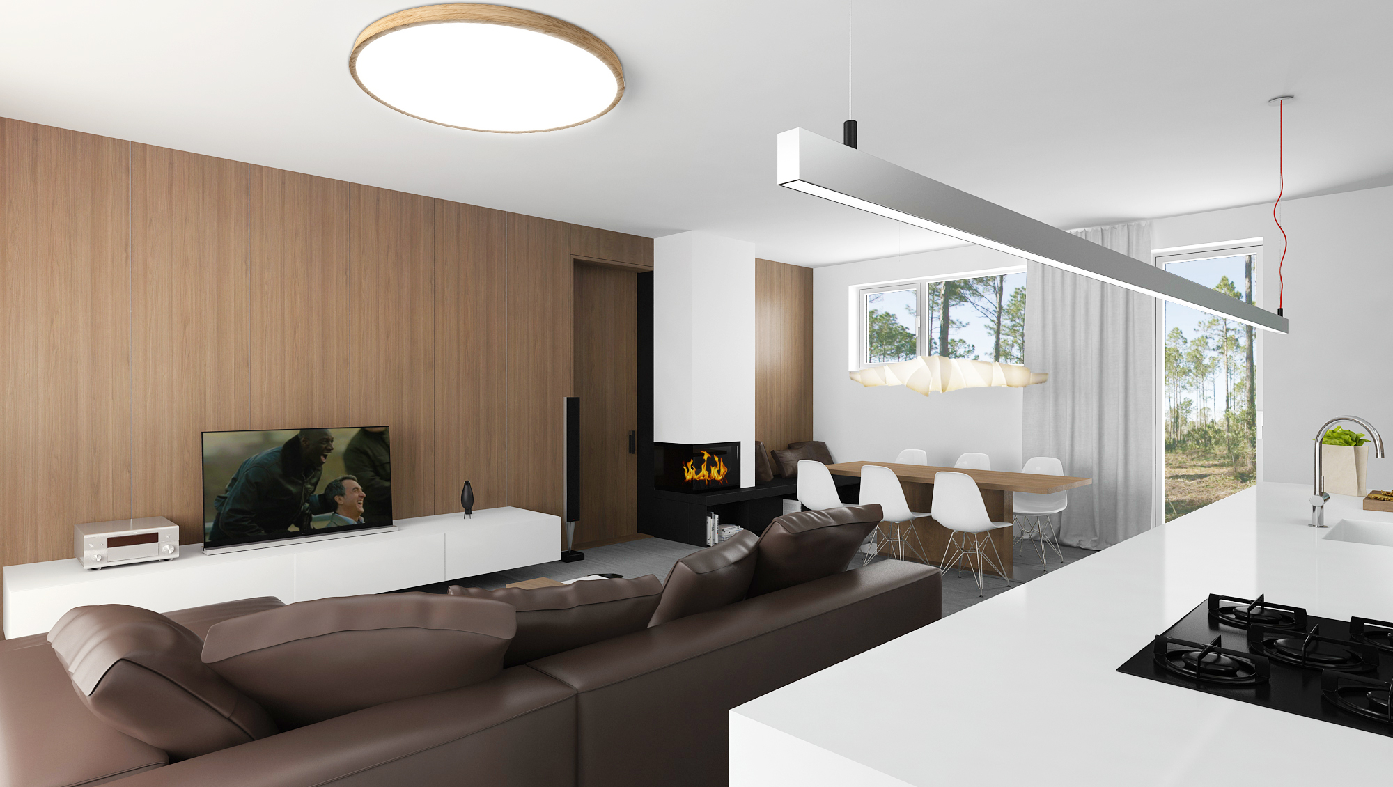 Surface mounted ceiling light with built-in LED module made from oak wood