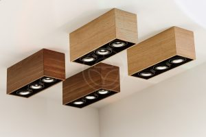 New wooden ceiling lamps at the exhibition in Nitra