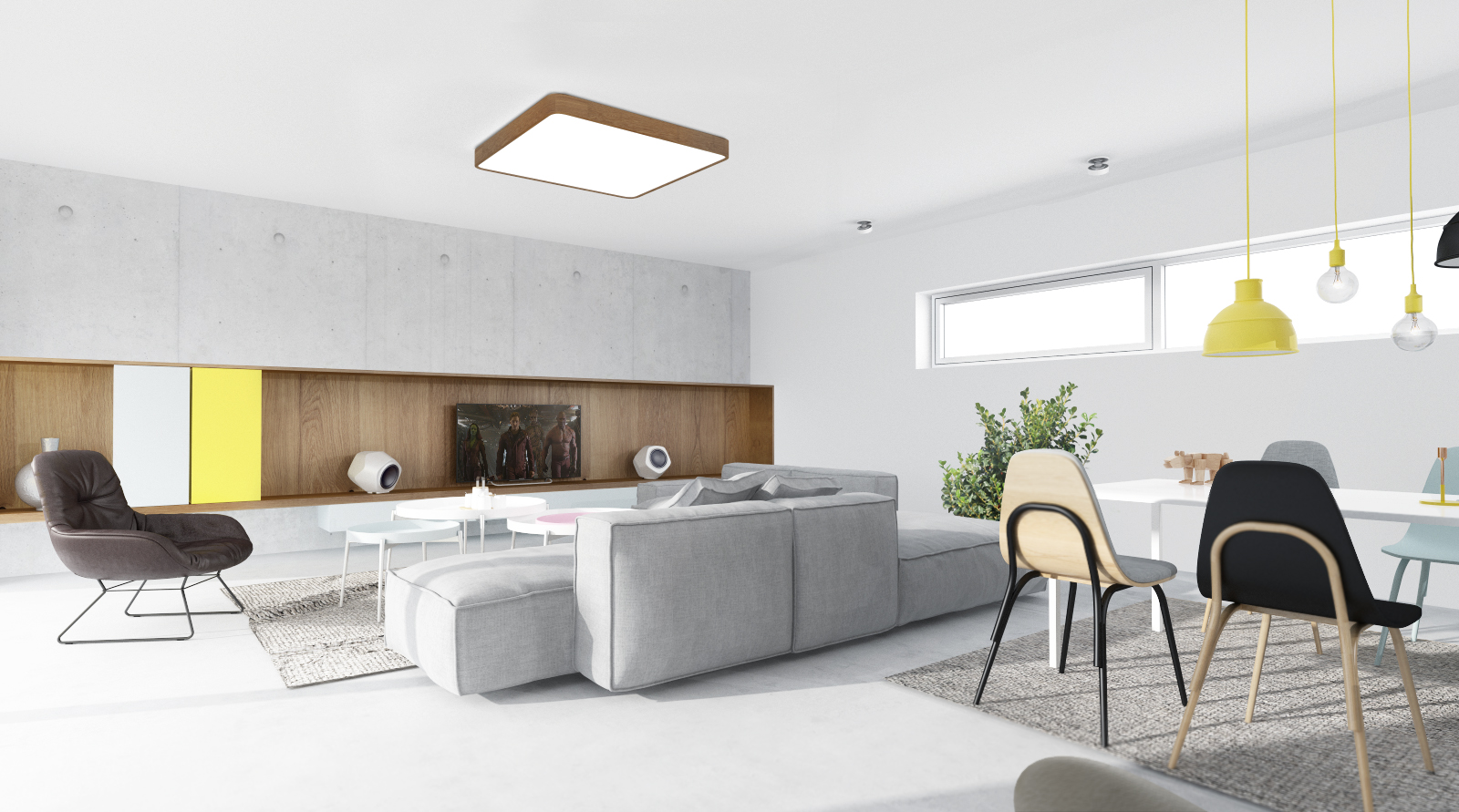 Interior project with handmade square LED ceiling lamp made of walnut wood