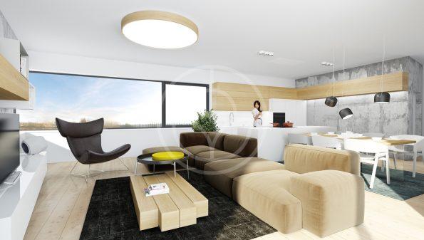 Trilum woodLED ROUND 1200 - oak wooden LED ceiling lamp in visualisation of living room interior design