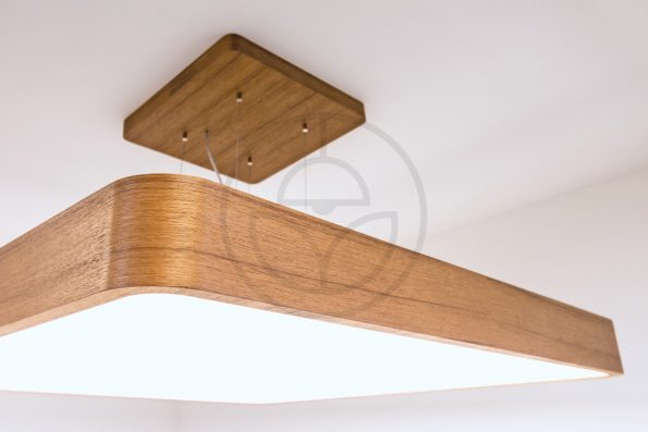 Trilum woodLED square hang 900 - suspended wooden lamp with walnut veneer detail