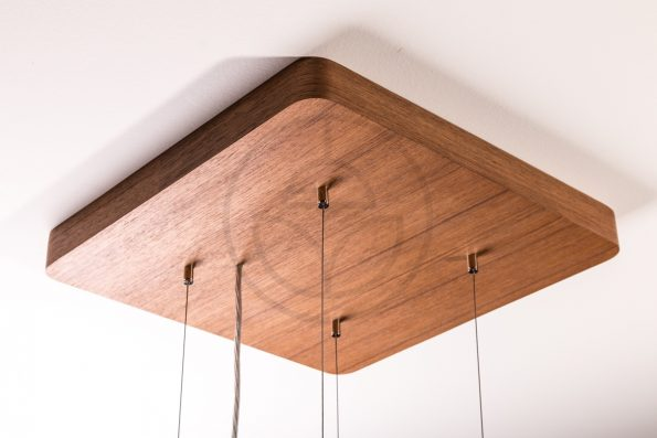 Trilum woodLED square suspension kit for hanging lamps with wooden walnut veneer detail