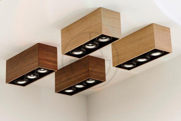 Trilum woodLED tripleSPOT mini wooden spotlight with oak, walnut, palisander and maple veneer detail