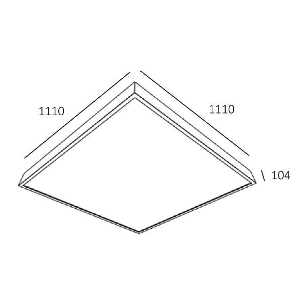 Trilum square wooden lamp woodLED SLOPE 1200 dimensions - scheme
