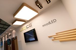 Wooden oak and palisander surface mounted lamp at ForArch 2015 Prague