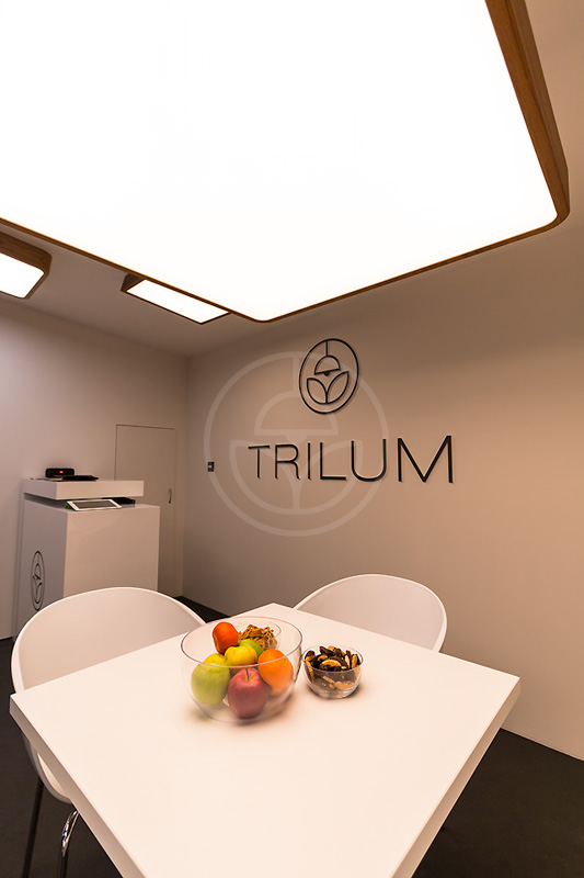 Trilum's big hanging square LED lamp for office and meeting room at Light & Building 2016