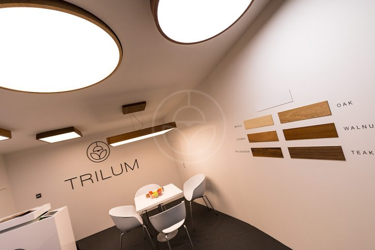 Trilum's round wooden luminaires at Light & Building 2016