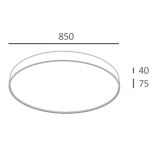 Kruhové drevené svietidlo WoodLED Soft900 - schéma s rozmermi