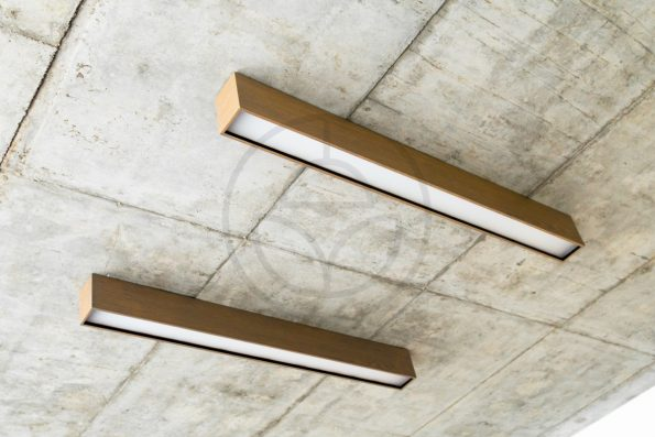 Trilum woodLED LINUS 1100 - interior linear wooden LED lamp used in office building project installation