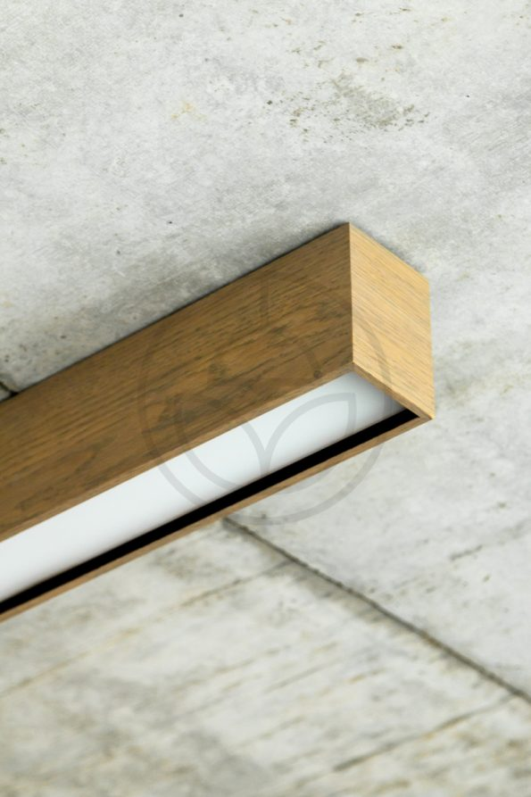 Trilum woodLED LINUS 1100 - interior linear wooden LED lamp surface finishing detail