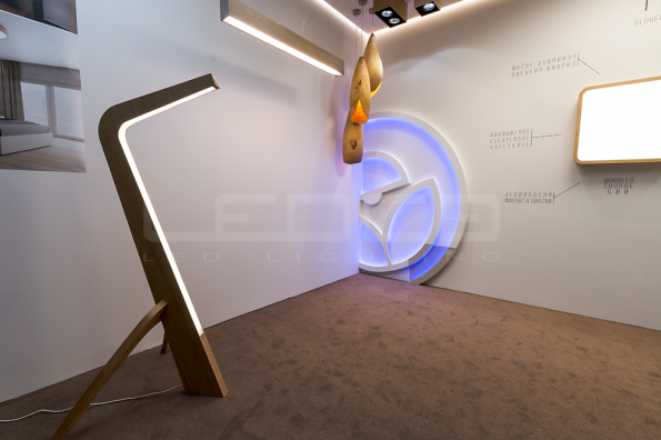 woodLED SLEDGE - exclusive floor LED wooden lamp at the Slovak exhibition of furniture and living