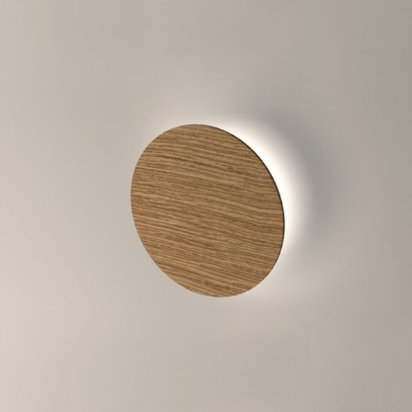 Wooden LED wall light Roondy 280. Oak solid wood with 3000K warm white LED modules included.